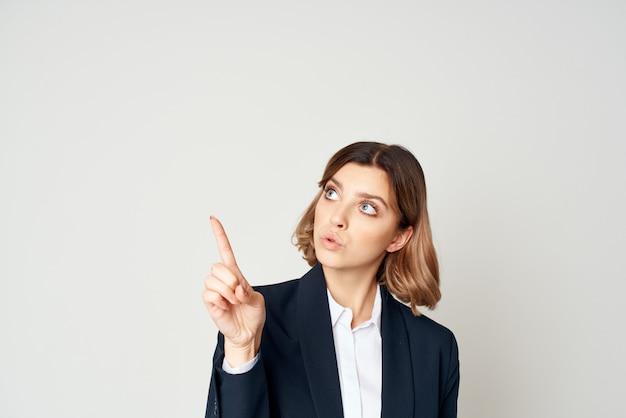 Woman in suit executive businesswoman working studio