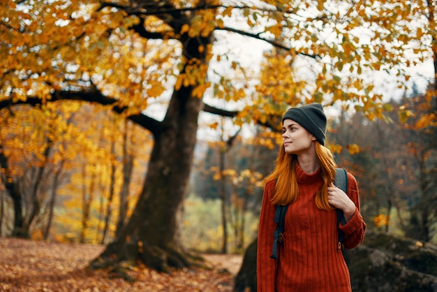 Woman in a sweater walks in the park in autumn nature landscape fresh air model backpack. high quality photo