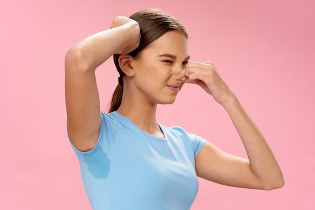 Woman sweaty armpits, hyperhidrosis