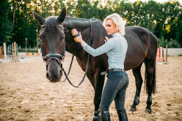 女性は茶色の馬の髪の世話をします