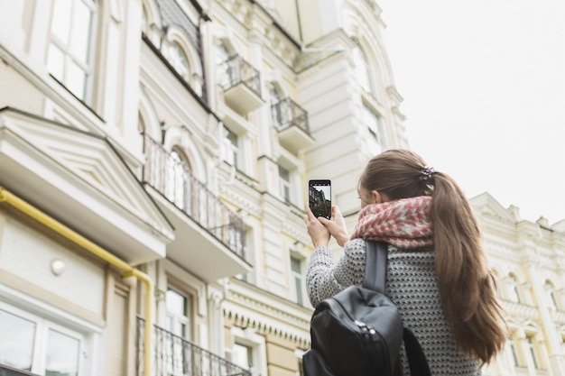 Woman taking architectural shots