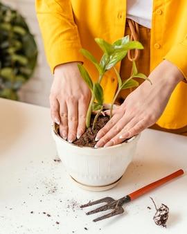 Женщина заботится о своих растениях в своем домашнем саду