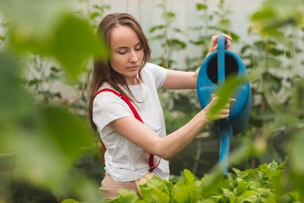 온실에서 식물을 돌보는 여자