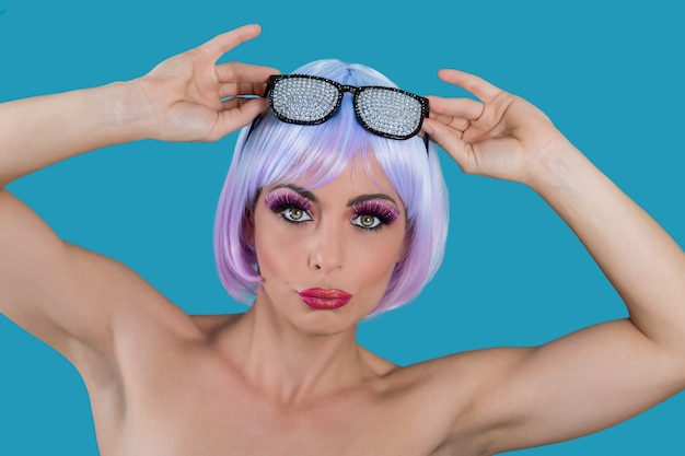 Woman taking off glamour glasses