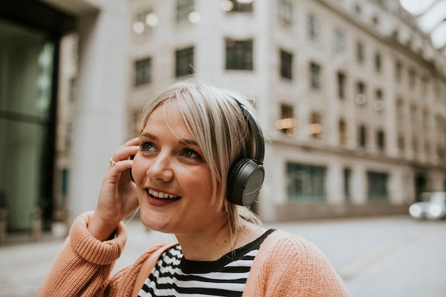 Woman talking on a phone in london