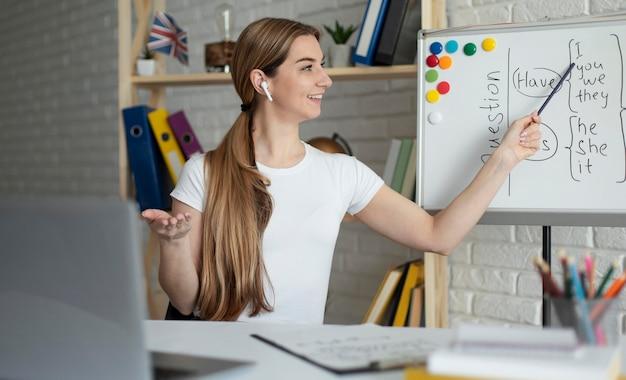 オンラインで生徒に英語のレッスンを教える女性