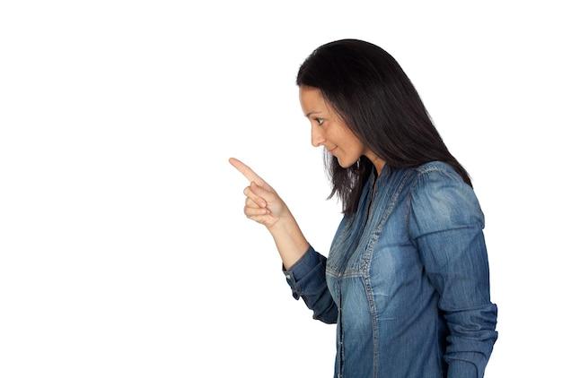 그녀의 검지 손가락으로 경고를 말하는 여자