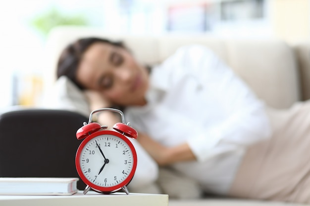Woman tired after business day came home