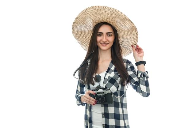 여자 관광 복용 사진 흰색 절연