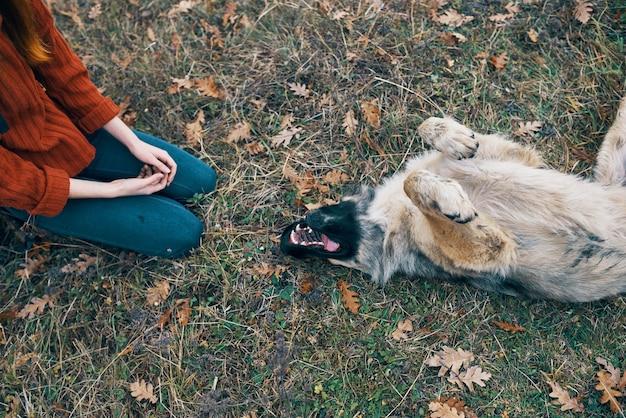 Женщина туристическое путешествие играет с собакой весело природа