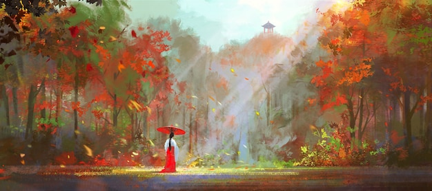 Woman in traditional oriental clothes walks in the dense forest.