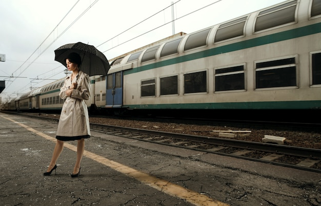 Woman at the train station