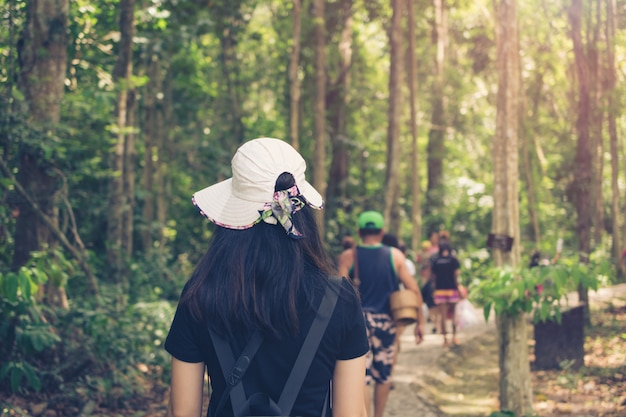 Woman traveler and hat walking in forest, travel concept.