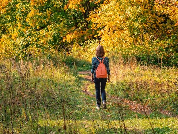 秋の丘でバックパックを持ってハイキングする女性旅行者。旅行ライフスタイルコンセプトアドベンチャー休暇屋外。