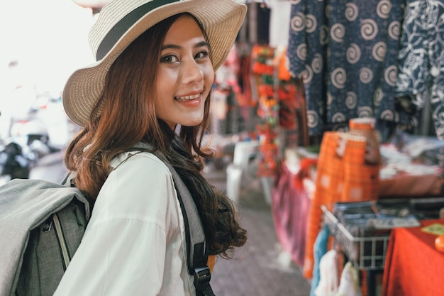 Woman traveler tourist traveling at walking street. journey trip travel