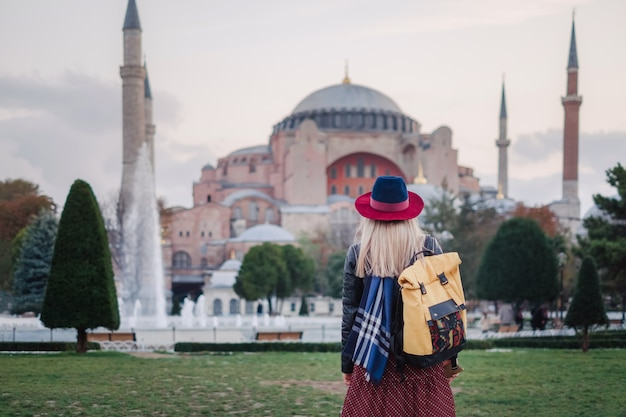 Woman traveling in istanbul near aya sofia mosque, turkey