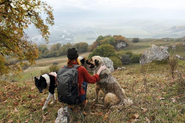 Женщина путешествует по горам с собакой на прогулке дружба осень