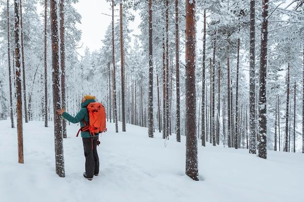 Женщина во время похода по заснеженной лапландии, финляндия