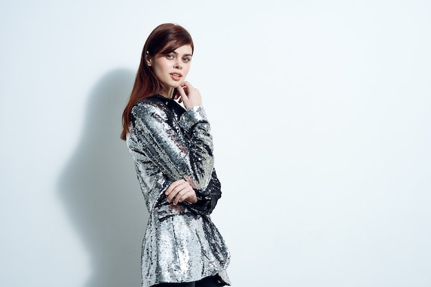 Woman in trendy clothes silver blazer modern style disco party. high quality photo