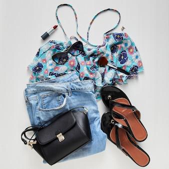 Женщина модная мода коллаж одежды