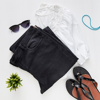 Woman trendy fashion clothes collage