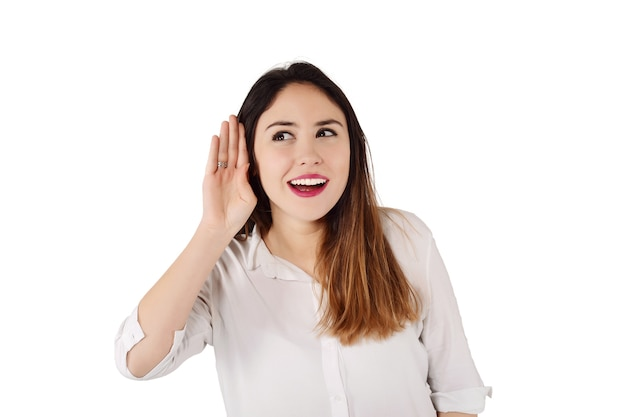 Woman trying to listen something