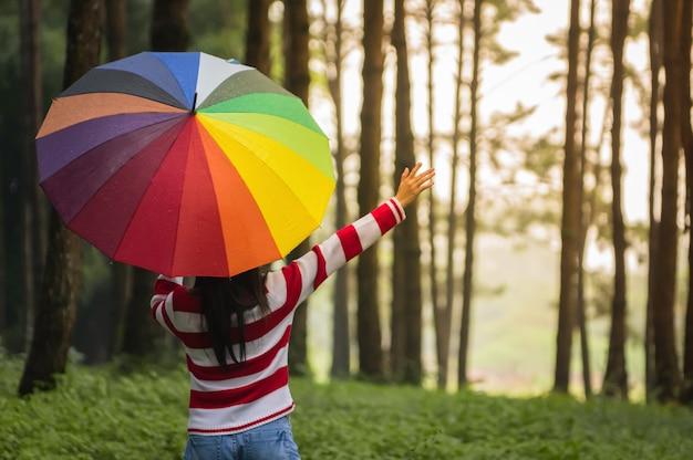 Woman and umbrella.
