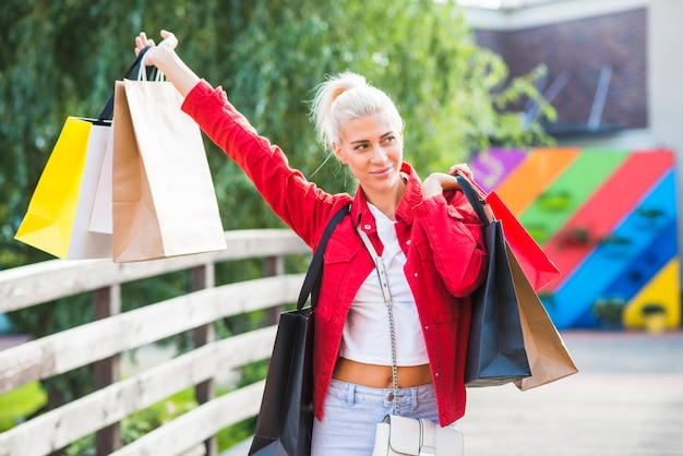 Woman upping shopping packets