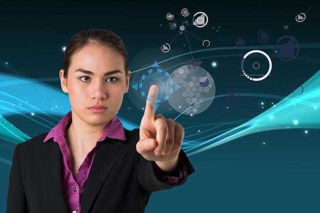 Woman using futuristic technology