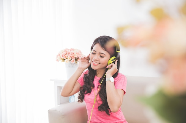 Woman using a headset