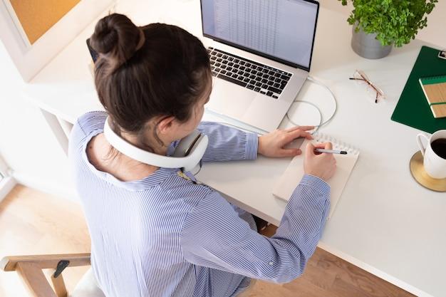 Женщина, использующая ноутбук, рабочее место в современном стиле. связь и удаленная работа. социальная дистанция