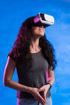 Woman using virtual reality headset front view