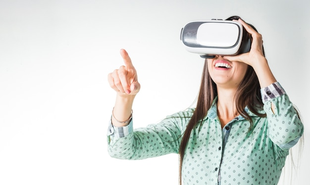 Woman using vr headset being surprised