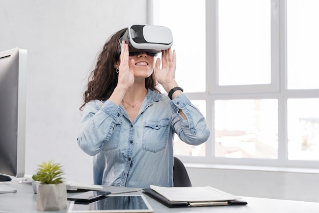 Woman using vr medium shot