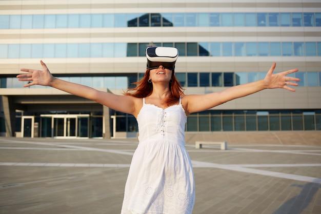 Woman using woman using virtual reality glasses glasses