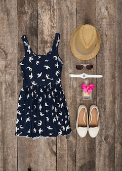 Woman vacation outfit , view from above