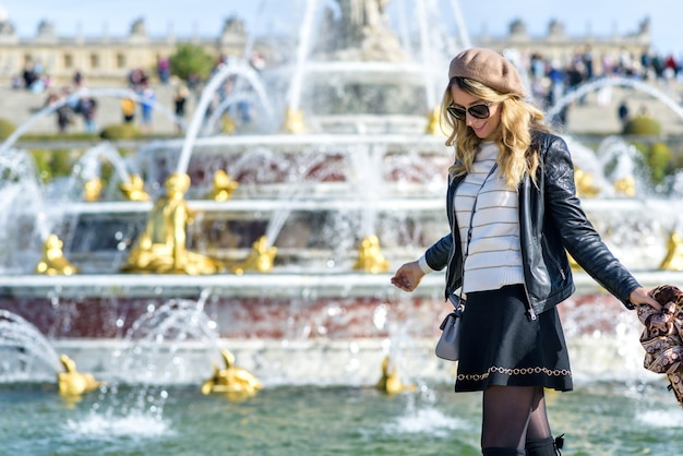 Woman at versailles palace in france