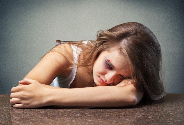 Woman victim of domestic violence and aggression