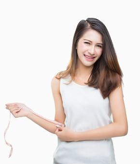Woman waist major diet mirror