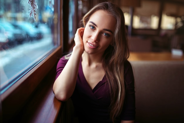 Woman waiting in cafe