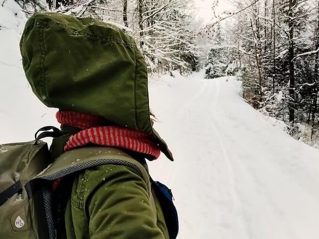 雪に覆われた森の背面図で一人歩きの女性