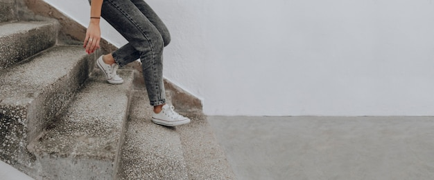 Woman walking down the stairs
