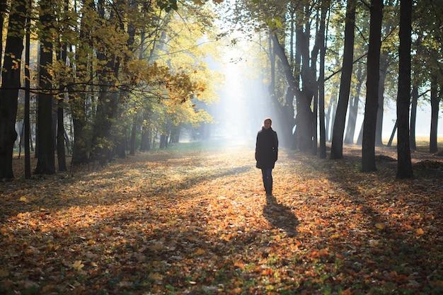 Женщина идет по туманным аллеям осеннего парка, покрытым листьями