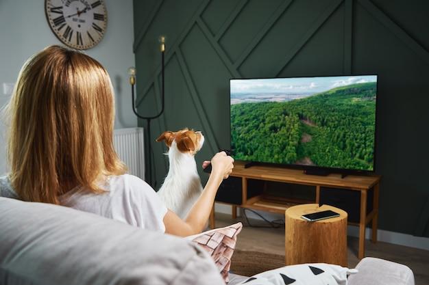 Woman watching tv set on the sofa Premium Photo