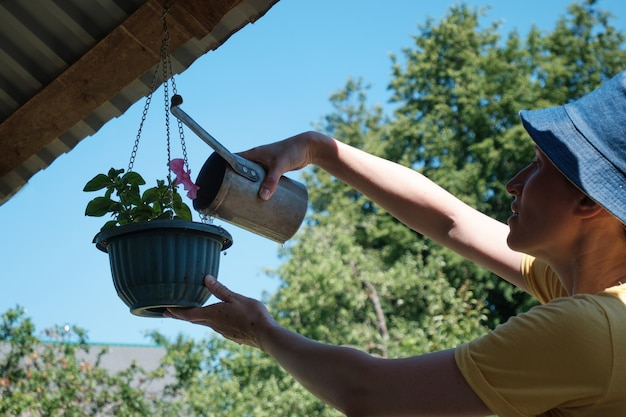 Woman watering flowers in garden with watering can. home gardening. plant care.