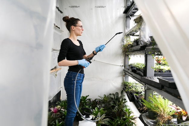 Woman watering plants in hothouse