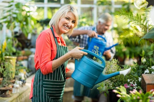 温室で男と植物に水をまく女
