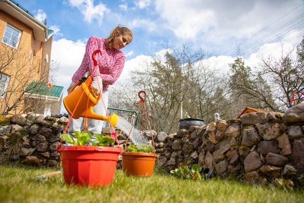 봄에 집 뒤뜰에 있는 정원에서 화분에 심은 꽃에 물을 주는 여자. diy 개념