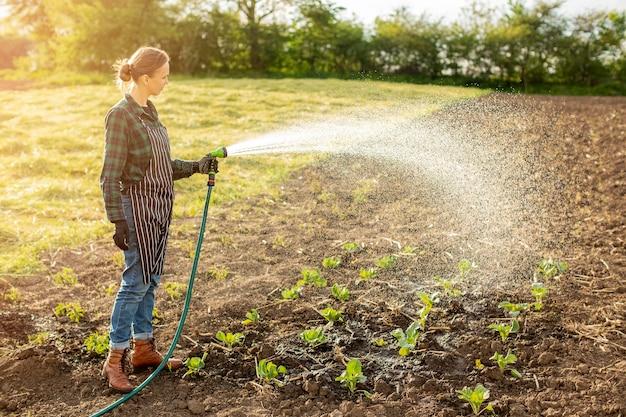 Женщина поливает урожай
