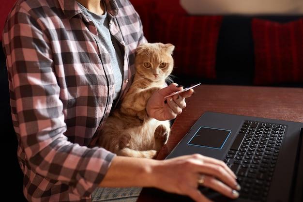 快適なスタイルを身に着けている女性は、黒いノート、ラップトップ、猫のクレジットカードで購入しています